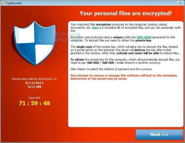 Actual screen shot of CryptoLocker