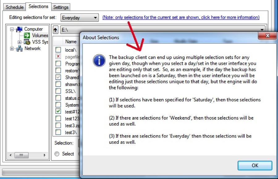 screenshot of backup software user interface